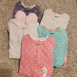 Lot of carters feet pajamas 4t
